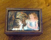 "Vintage LINDEN Wooden ""Charpentier's Children"" MUSIC BOX"