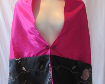 Vintage Asian Silk Shawl Wrap Magenta/hot pink Black Chinese High Fashion frog button front Shawl