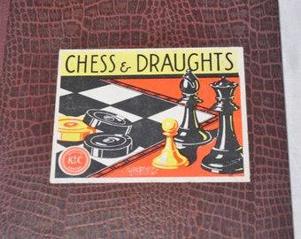 Vintage Chess and Draughts (Checkers) Board by K & C Limited, London, made and printed in England