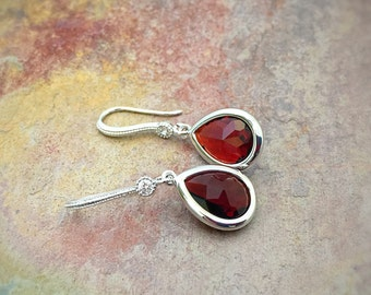Garnet Earrings - January Birthstone - Red Jewelry - Garnet Jewelry - Silver Garnet - Red Dangle Earrings