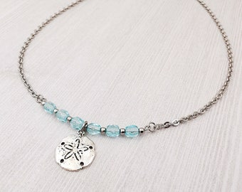 Ocean Themed Jewelry - Sand Dollar Charm Necklace - Beach Themed - Aqua Blue Jewelry