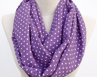 Purple and White Polka Dot Loop Infinity Circle Scarf