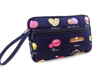 Sweets zipper pouch, Wristlet wallet, Cosmetic bag, Cell phone bag, iPhone wallet case, Cotton zipper clutch,Dark blue clutch