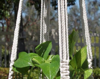 CROWNE ROYALE - Handmade Macrame Plant Hanger Plant Holder with Wood Beads - 6mm Braided Poly Cord in Natural WHITE