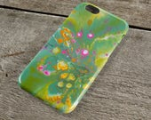 Green Abstract iPhone Case - Green pink yellow and white Fluid Art iPhone Case for iPhone 5/6/7/8/, Plus, +, S, Protective Tough Case