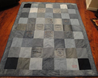 Blue Jean Denim Quilt with red plaid fleece