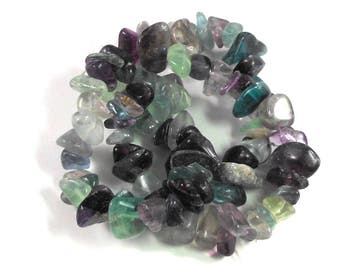 Natural Dark Rainbow Fluorite Stone Chip Beads, Full Strand, Rainbow Colors, Green Pink Purple Clear Yellow, Craft Beading, Large Chip Beads