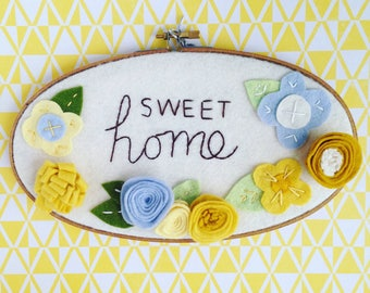 Sweet Home Sign Yellow and Blue Felt Flower Embroidery Hoop Art Kitchen Decor New House Gift Wall Art
