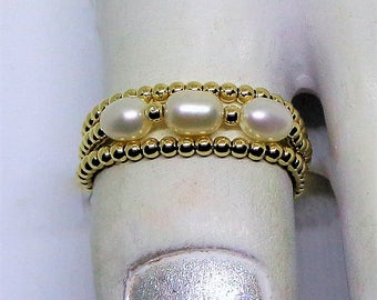 14k Solid Gold Toe Rings White Pearl Toe Ring Stackable Toe Ring 14k Gold Thumb Ring Triple Rings Real 14kt Gold Toe Rings BuyAny3+Get1Free
