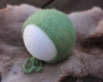 ready to ship, newborn photography prop, holiday winter christmas, luxury mohair soft green bonnet, reversible, newborn boy bonnet, boy prop