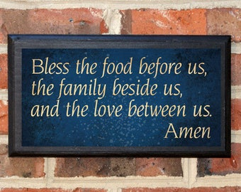 Prayer Sign Bless the food, family, love Wall Art Sign Plaque Gift Present Custom Color Home Decor Vintage Style Classic Grace Give Thanks