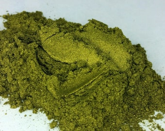 Kryptonite Gold Green  Olive Chartruese 10g jar  Mineral Eye Shadoweyeshadow Vegan Natural mineral Mica Makeup