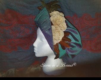 Soft crowned bonnet with rolled brim in taffeta