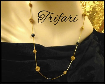 Vintage Trifari Gold & Black Necklace, 24 Inch Long Gold Herringbone Chain, Gold Wire Beads, Black Lucite Beads, Gift for Her