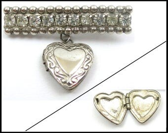 Art Deco Rhinestone Heart Locket Brooch, Clear Rhinestones, Silver Locket, Rhinestone Brooch, Easter Gift, Mothers Day Gift for Her