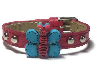Children Jewelry, Little Girls Bracelet, Dark Pink Child Butterfly Bracelet - Children Slide Charm Bracelet - Little Girl's Buckle Bracelet