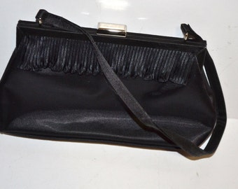 Vintage 70s black satin handbag La Regale clutch evening purse Mad Men style Cell phone cabag cosmetic small purse wedding