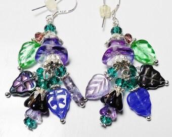 Purple Silver Flower Earrings Crystal Chandelier Crystal Czech Glass Leaf Beads Flowers Purple and Green Jewelry Sterling Silver Earwires