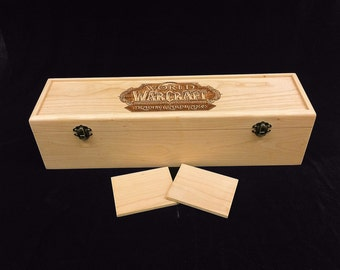 World of Warcraft Trading Card Game Engraved Deck Box with Hinges & 2 Latches-16 3/4x4 1/2 x4 1/4