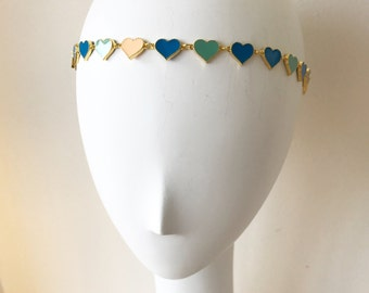 Blue Enamel Heart Headpiece, for weddings, parties, special occasions