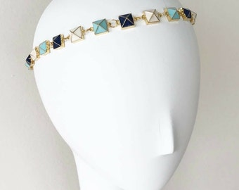 Turquoise and Navy Pyramid Headpiece, for weddings, parties, and special occasions