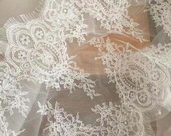 Eyelash Trim Alencon Lace Fabric in Ivory for Wedding, Bridal Bolero, Costume design, Bridal Shrug, Wedding Veil