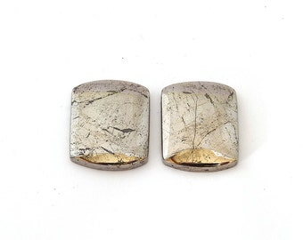 Shimmering Native Silver Designer Cabochon Gemstone Pair  17.6x22.2x3.7 mm 83.5 ct Free Shipping