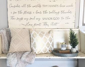 Barnwood sign. How great thou art lyrics. Painted sign