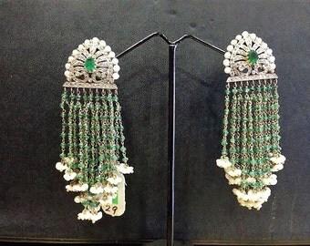 Sale! Gemologist Certified 2.25ct Diamond 37ct Emerald Freshwater Pearl 3 inch long Chandelier Tassel Earrings 18k Gold