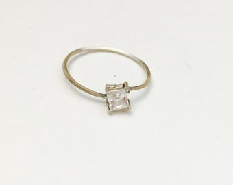 Silver Ring Size 8., Clear CZ, Square Shape Stone, Statement Ring, Delicate, Romantic, Item No. S359