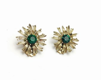 Vintage Clip On Earrings, Emerald Green Rhinestones, Silver Tone, Clearance SALE, Item No. B638