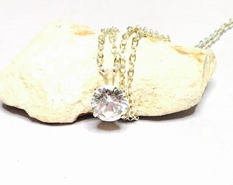 Large clear CZ pendant 7.mm, set on silver, romantic gift ideas, Clearance Sale, item No. S191