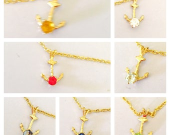 Anchor Pendant, CZ  stone & Gold plated, choose a color, Clearance Sale, item no. S307