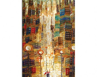 Downtown - cityscape Abstract Art Giclee Print Home Wall Decor Paula Nizamas ready to hang