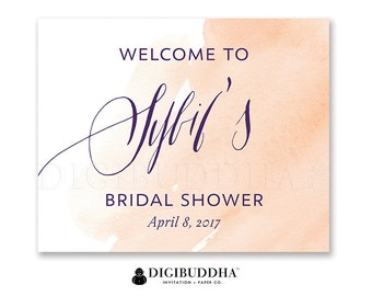 Watercolor Bridal Shower Welcome Sign Blush Peach Watercolor Sign Party Decor Welcome Sign Party Decor Sign DiY Printable or Printed - Sybil