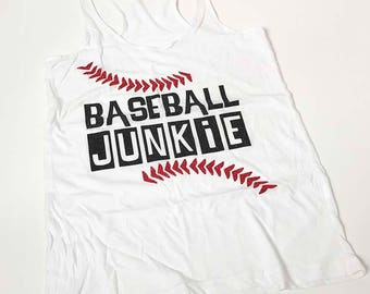 Baseball Junkie glitter tank top