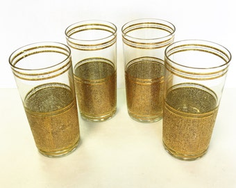 Set of Four Gold Emboss Highball Glasses