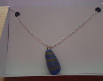 Pale blue teardrop glass necklace