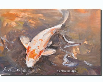 goldfish Koi fish animal Brocade carp Originals oil painting Impressionist
