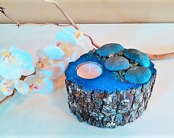 TREASURY ITEM - Wood tree branch candle -  Rustic candle -  Home and living - Tea light candle - Blue Candle - Home decor - Rock candle