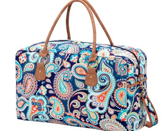 Personalized Weekender Bag Paisley, Monogrammed Paisley Duffel, Embroidered Overnight Bag, Travel Duffel Bag, Luggage Personalized
