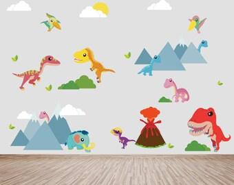 Dinosaur Decals, Boys Decals, REUSABLE Ecofriendly No Toxins No PVCs Decals, WD801dm