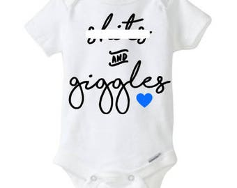 Sh!ts and Giggles baby onesie - body suit - adorable - sense of humor - cute onesie - baby shower gift - baby announcement - vinyl NOT paint