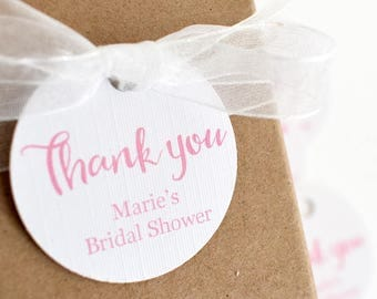 20 x bridal shower favour tags,  personalised bridal shower tags, pink round tag, favour tags for hens or shower, gift tags, party gift tags