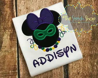 Mardi Gras Theme Minnie Monogrammed and Appliqued Shirt