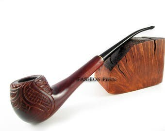 """Lady Wooden Tobacco pipe Engraved """"VINE"""" 8 in Long smoking pipe Magic Wood Pipe for True TOBACCO Lovers. Limited edition."""