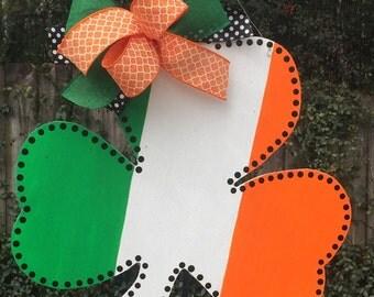 St. Patrick's Day Door Hanger, Irish Flag Door Hanger, Shamrock Door Hanger, Ireland Decor, Irish Celebrations