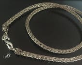 Silver Viking Knit chain, Sterling silver necklace, Wire woven chain, silver