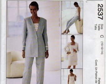 Princess Seamed Lined Jacket Top With Square Neckline Pants And Skirt With Faced Waist Edge Size 10 12 14 Sewing Pattern 1999 McCall's 2537