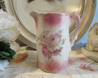 Antique, vintage  gorgeous English pink flower jug / pitcher.  Trafalgarware Staffordshire, England.  Soooo cottage chic!